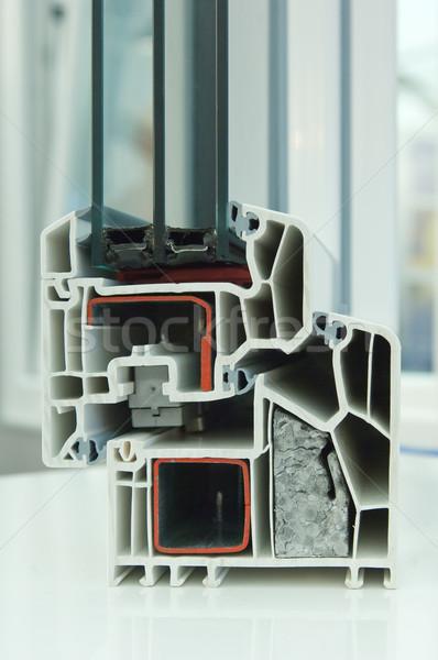 Zsakett modell műanyag ablakkeret építkezés terv Stock fotó © pixpack