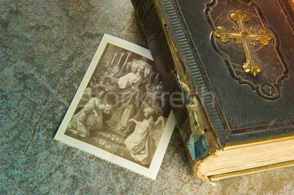 öreg Biblia kép istentisztelet arany antik Stock fotó © pixpack