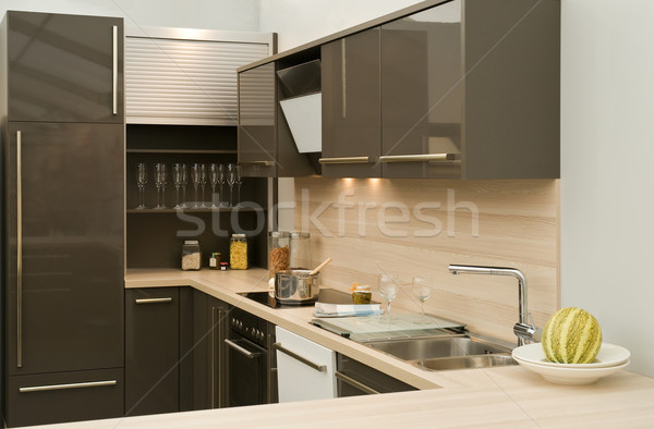 Modern fitted kitchen Stock photo © pixpack