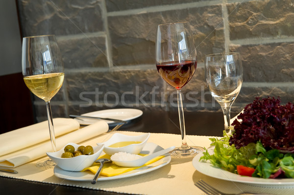 Dining table with wine glasses Stock photo © pixpack
