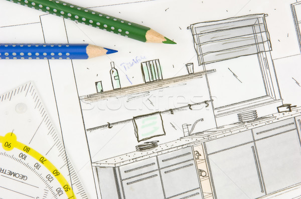Plan scribble of a modern fitted kitchen Stock photo © pixpack