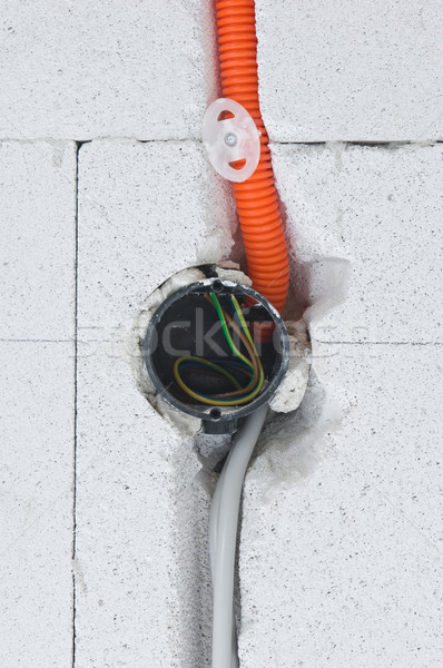 Electrical installation on a construction site Stock photo © pixpack