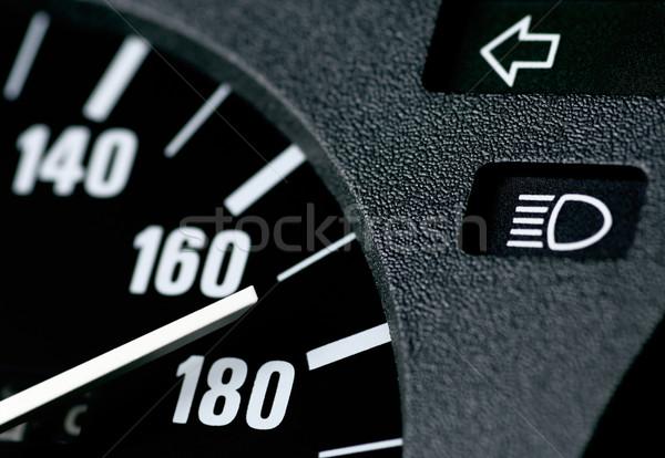 Hızölçer araba siyah beyaz hızlı yarış Stok fotoğraf © pixpack