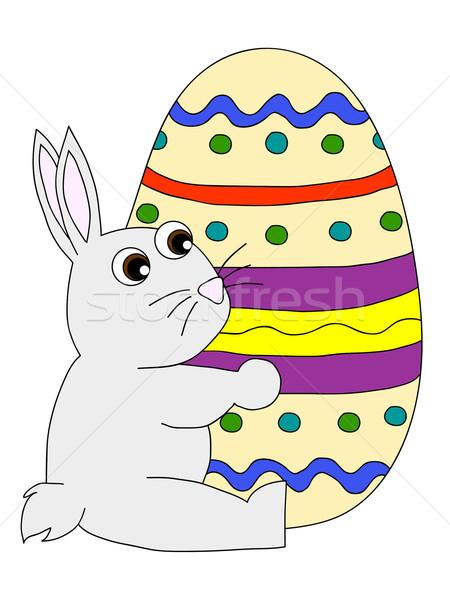 Húsvéti nyuszi húsvéti tojás tart színes tojás tojás nyuszi Stock fotó © PiXXart