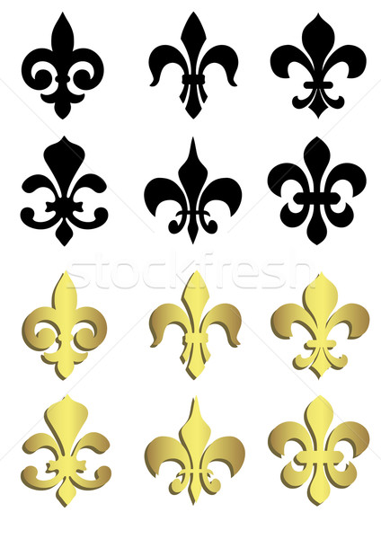 Fleur de lis in black and gold Stock photo © PiXXart