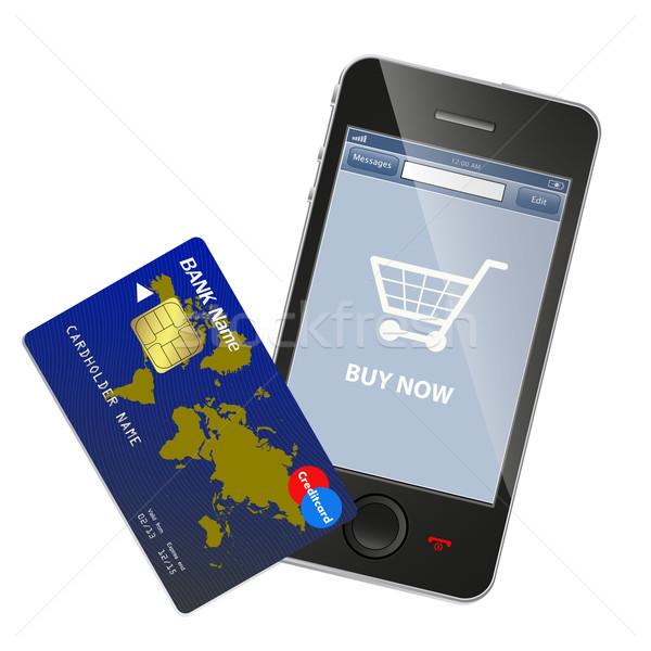 Internetes vásárlás pénz telefon technológia telefon mobil Stock fotó © PiXXart