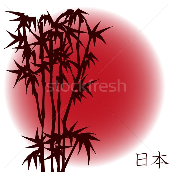 Bambou rouge soleil japonais arbre design Photo stock © PiXXart