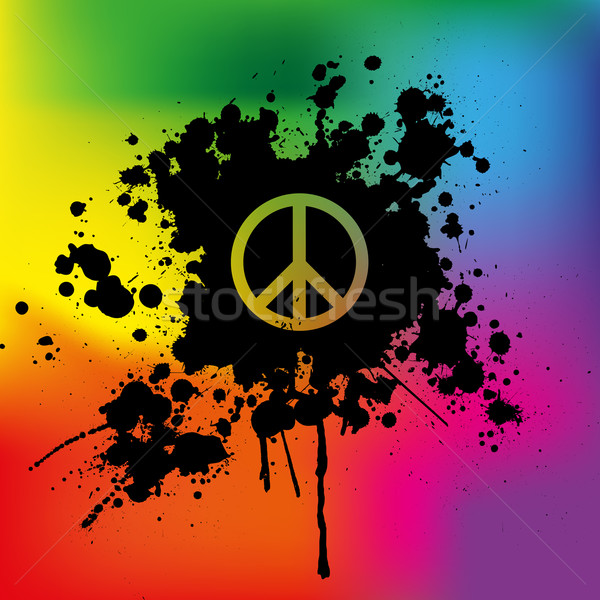 Paix signe Rainbow lumière design vintage Photo stock © PiXXart