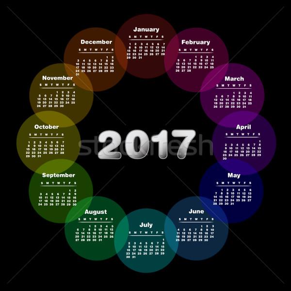 Colorful calendar for 2017. Week starts on sunday Stock photo © PiXXart