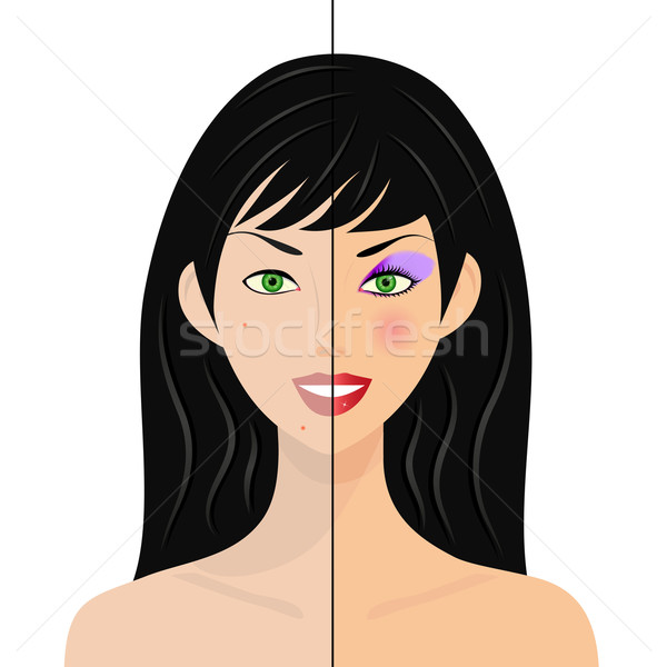 portrait of woman, half natural, half with make up and retouched Stock photo © PiXXart