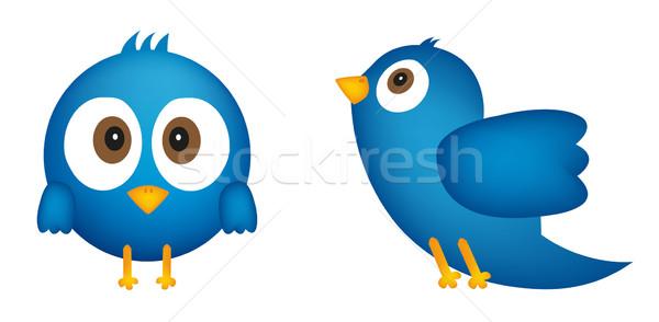 Cartoon of blue bird Stock photo © PiXXart