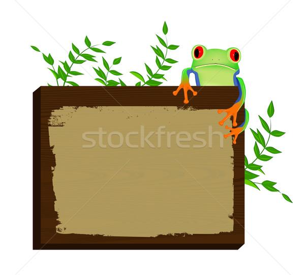 Rouge séance bois fond grenouille Photo stock © PiXXart