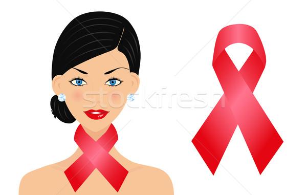 Gyönyörű nő AIDS szalag nő textúra egészség Stock fotó © PiXXart