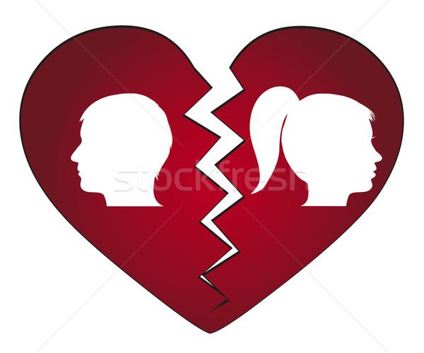 пару разведенный любви человека красный силуэта Сток-фото © PiXXart