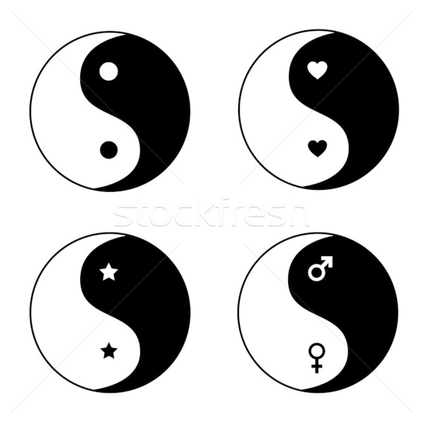 Set of ying yang symbols Stock photo © PiXXart