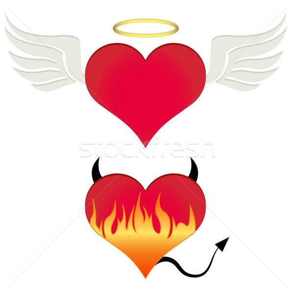 Serca miłości streszczenie podpisania płomień graficzne Zdjęcia stock © PiXXart