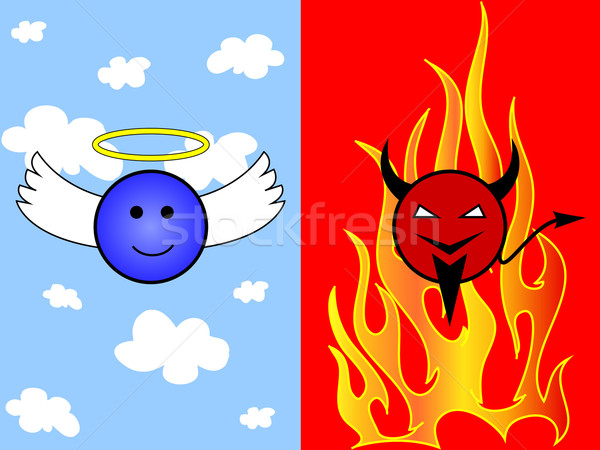 Cartoon of angel and devil Stock photo © PiXXart