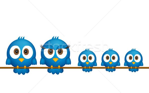 Photo stock: Bleu · oiseaux · famille · bébé · enfants · résumé