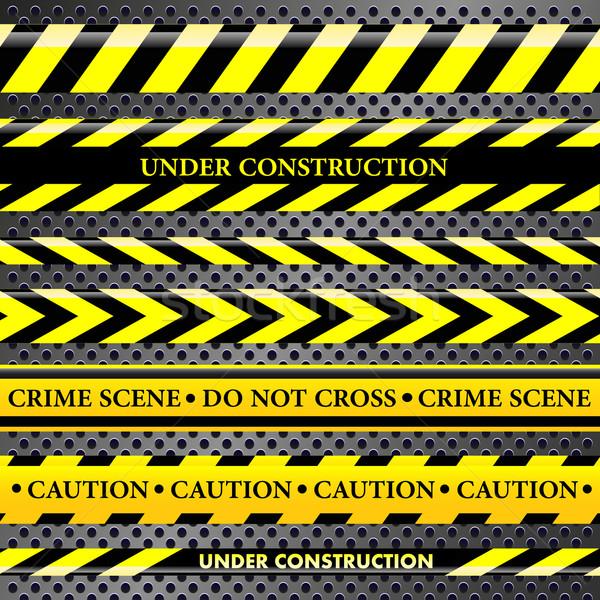 Zestaw niebezpieczeństwo policji linie metaliczny budowy Zdjęcia stock © PiXXart