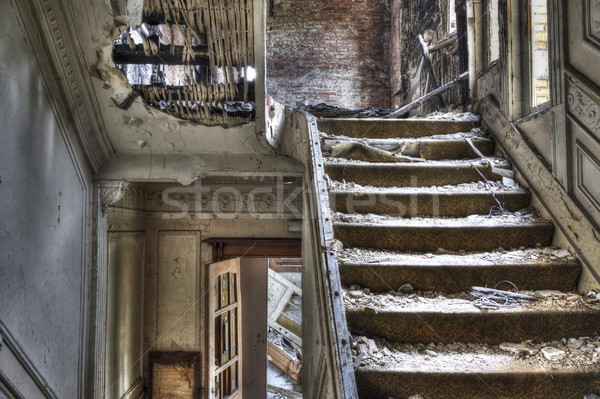 Stock photo: Staircase in abandoned house, hdr photo