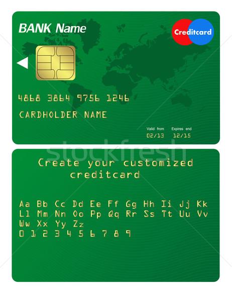 Carta di credito illustrazione alfabeto tecnologia segno verde Foto d'archivio © PiXXart