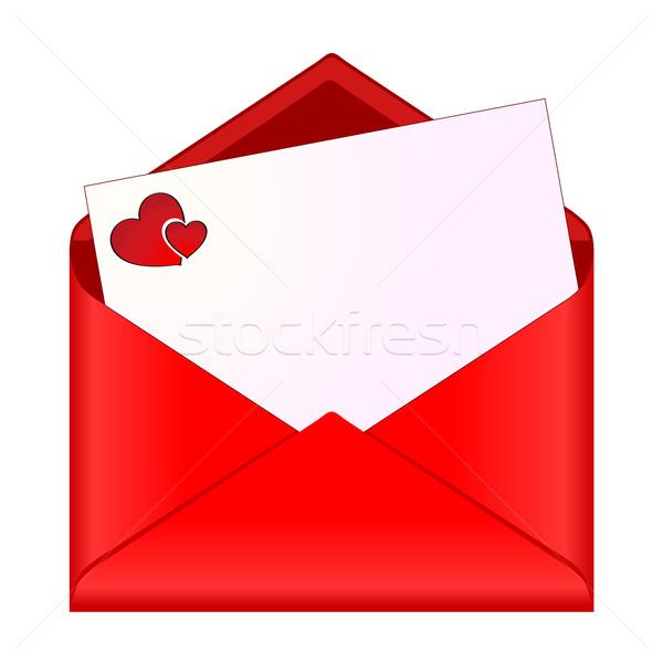 Açmak zarf romantik kırtasiye kâğıt sevmek Stok fotoğraf © PiXXart
