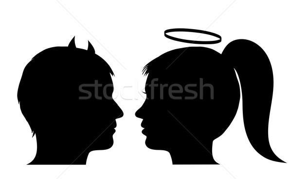 Mężczyzna diabeł kobiet anioł kobieta dziewczyna Zdjęcia stock © PiXXart