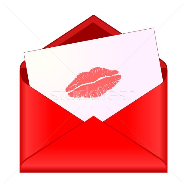 Ouvrir rouge enveloppe rouge à lèvres baiser lettre Photo stock © PiXXart