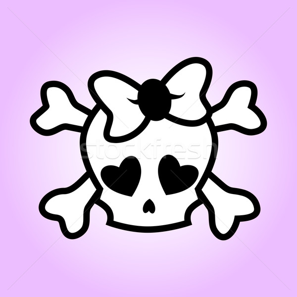 Girly skull illustration Stock photo © PiXXart