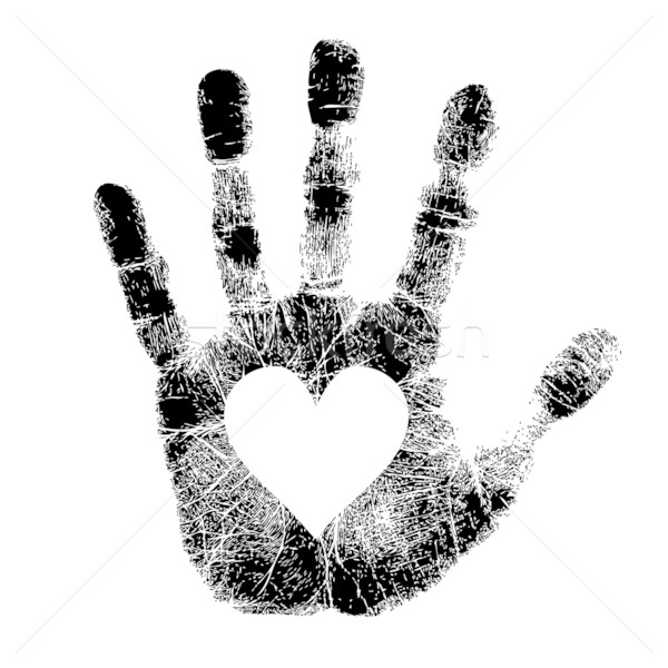 Stock fotó: Kéz · nyomtatott · szív · festék · művészet · tudomány