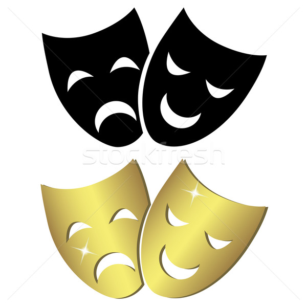 Stockfoto: Theater · maskers · triest · masker · zwarte · goud
