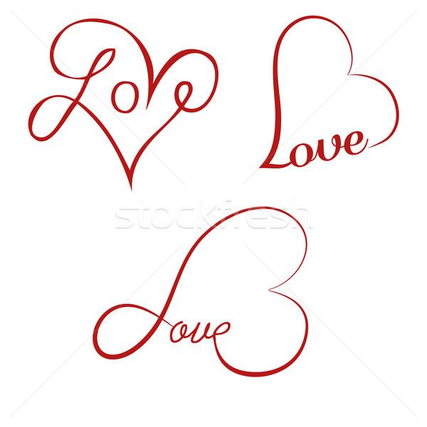Love calligraphy hearts Stock photo © PiXXart