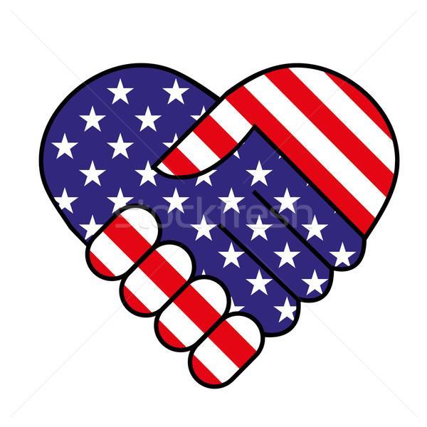 Amerykański shake strony handshake zespołu komunikacji wakacje Zdjęcia stock © PiXXart