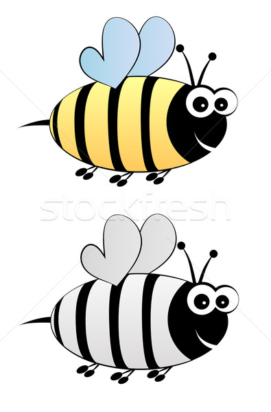 Bee cartoon in color and black-white Stock photo © PiXXart