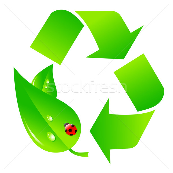 Green recycling logo Stock photo © PiXXart