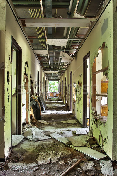 Completely destroyed hallway in abandoned building - HDR process Stock photo © PiXXart