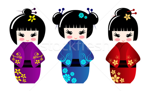 Stock photo: Cute kokeshi dolls