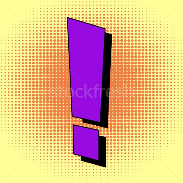 ünlem işareti pop art stil arka plan güvenlik iletişim Stok fotoğraf © PiXXart