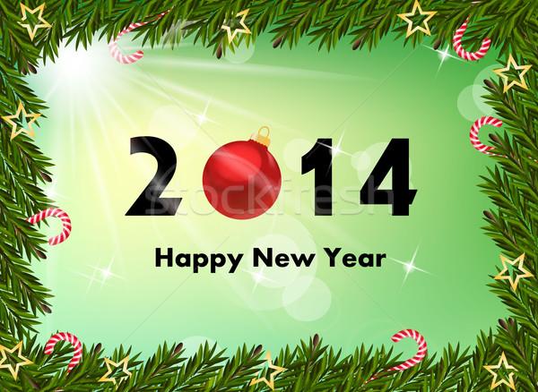 2014 nowy rok szczęśliwy świetle internetowych zielone Zdjęcia stock © PiXXart