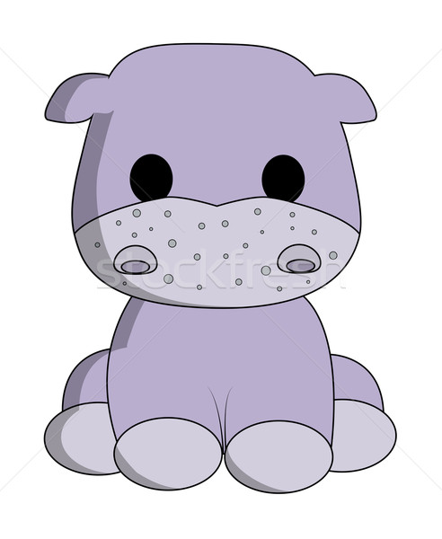 Cute hippo cartoon Stock photo © PiXXart