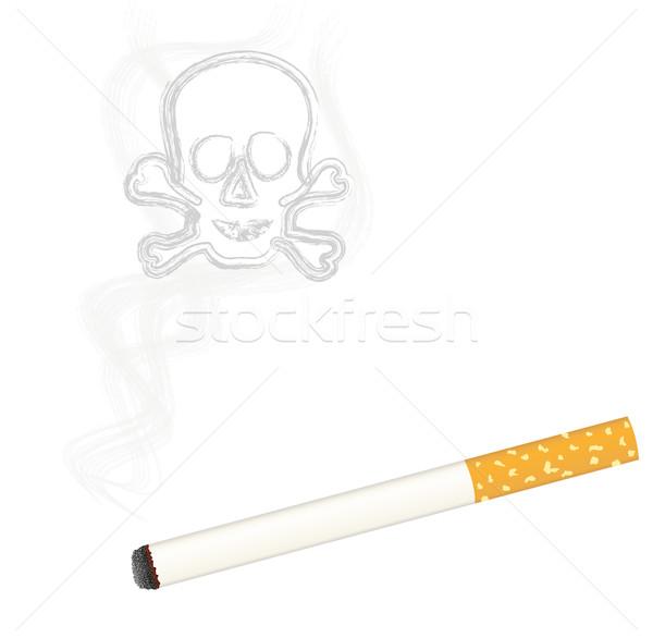 Brûlant cigarette crâne fumée design mort Photo stock © PiXXart