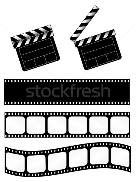 Stock photo: Movie clapper with film strips