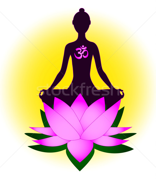 Meditating woman with om symbol and lotus Stock photo © PiXXart