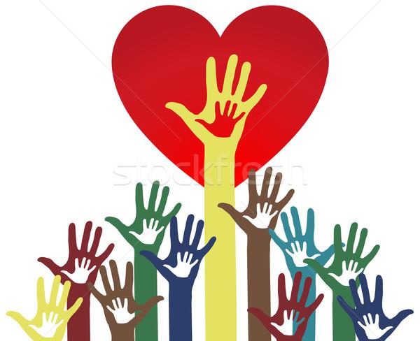 Parents enfant amour coeur sécurité signe Photo stock © PiXXart