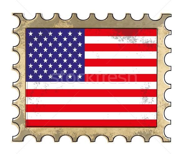 Гранж американский бумаги кадр почты флаг Сток-фото © PiXXart