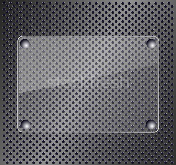 Glass plate on metallic background Stock photo © PiXXart