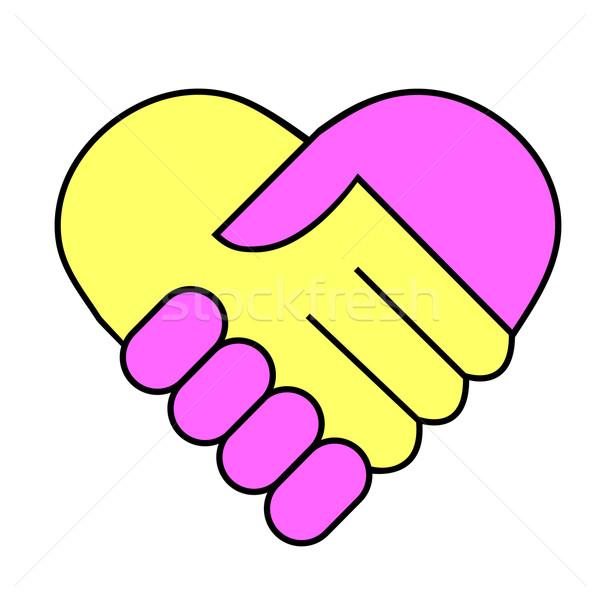 Hand te schudden business hand liefde vrienden werknemer Stockfoto © PiXXart
