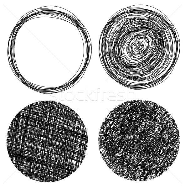 Hand drawn grunge circles Stock photo © PiXXart