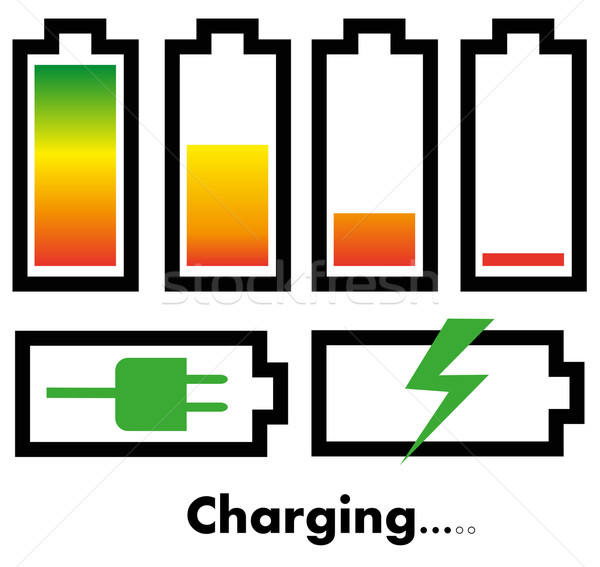 Battery charge icons Stock photo © PiXXart