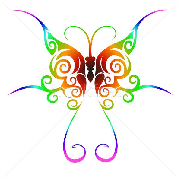 Colorful tribal butterfly tattoo Stock photo © PiXXart